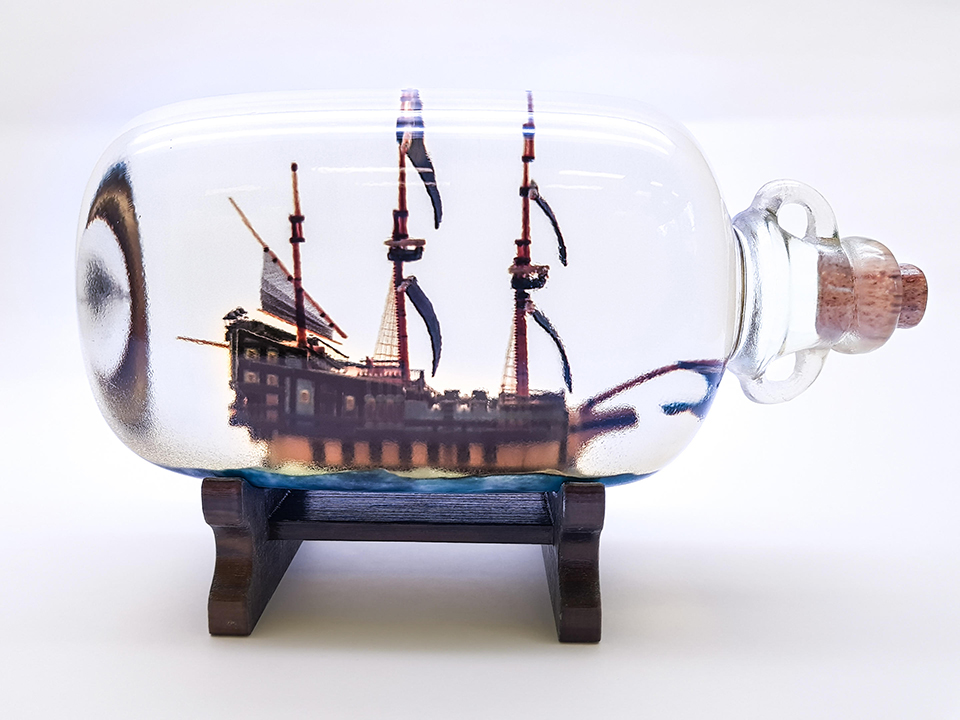 3D Maquette boat in a bottle
